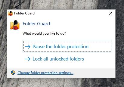 Optionen für die Folder Guard-Benachrichtigungsleiste