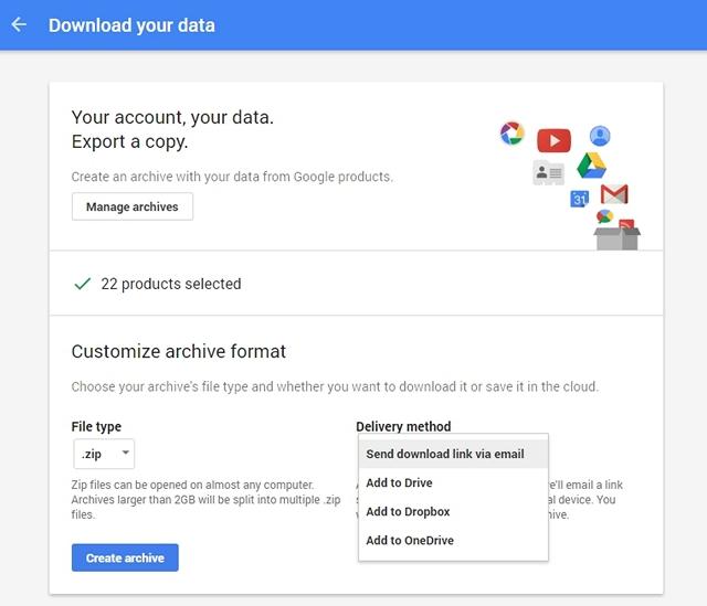 Google Account Data Download file type