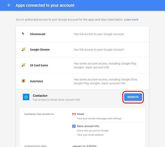 Google Account authorised apps