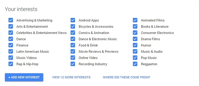 Google Profile interests