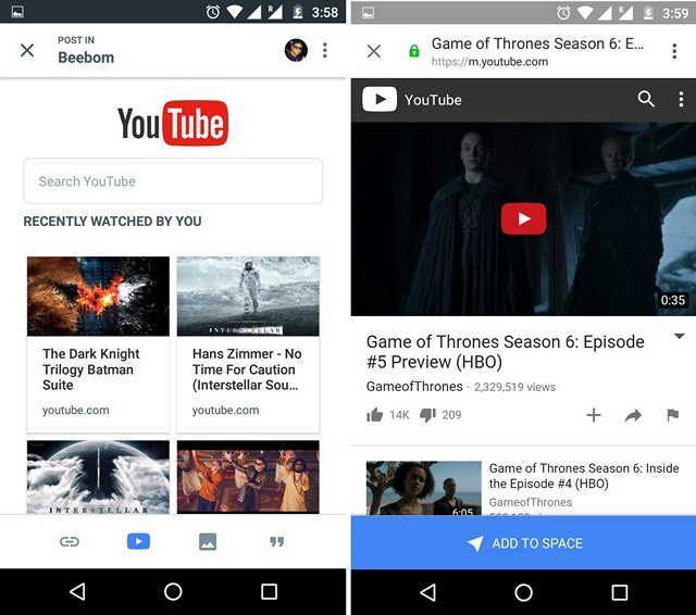 Google Spaces Share YouTube Videos