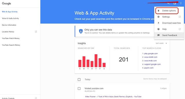 Google Web & App Activity