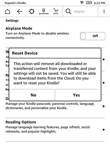 Kindle Reset device