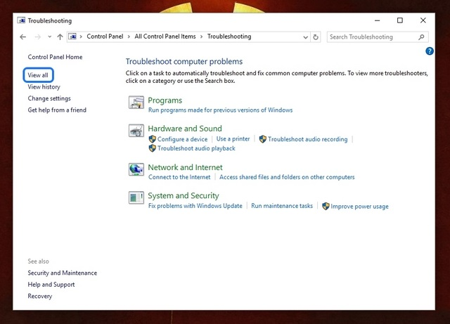 View All troubleshooting packs Windows 10