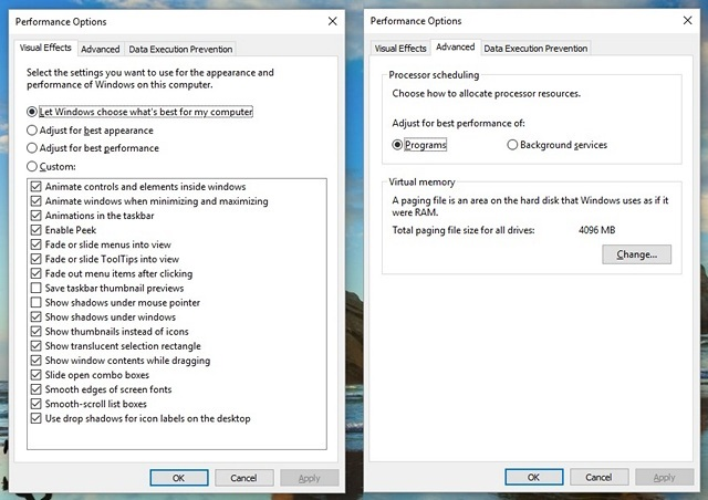 Windows 10 Performance Options