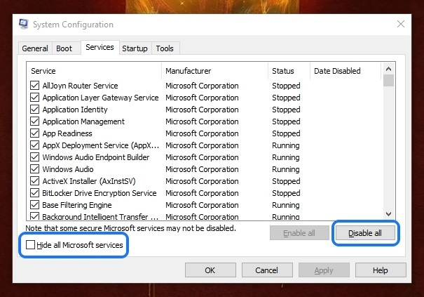 Windows 10 System Configuration Clean Boot