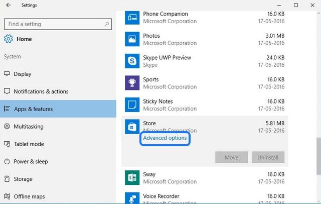 Windows 10 apps advanced options