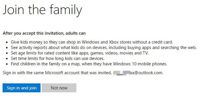 Windows 10-Kind akzeptiert Einladung