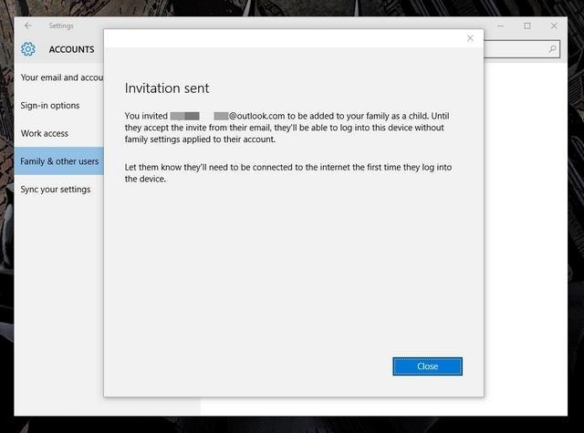 Einladung zum Windows 10-Kinderkonto gesendet