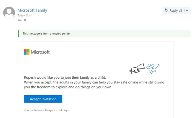Windows 10-Einladungsmail für Kinder