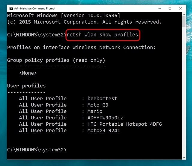 Windows 10 command show all WiFi networks