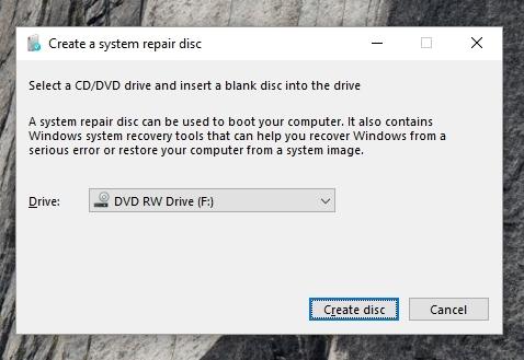 Windows 10 erstellt eine Wiederherstellungsdiskette