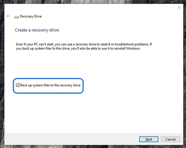 Windows 10 erstellt ein Wiederherstellungslaufwerk