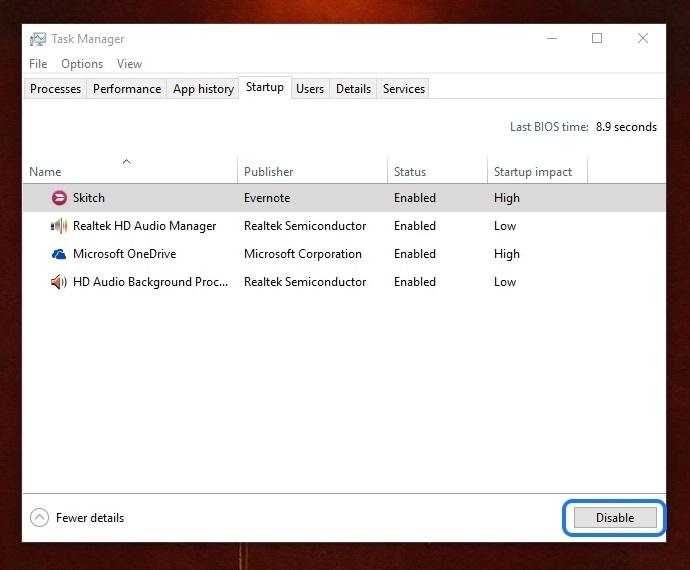 Windows 10 disable startup items