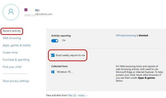Windows 10 parental controls recent activity