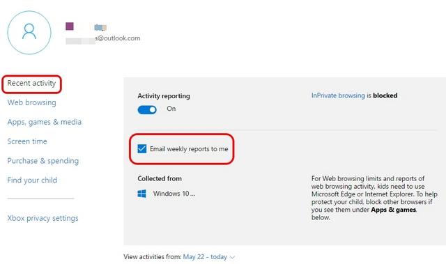 Windows 10-Kindersicherung steuert die letzten Aktivitäten