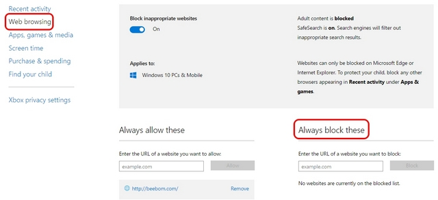 Windows 10 parental controls web browsing