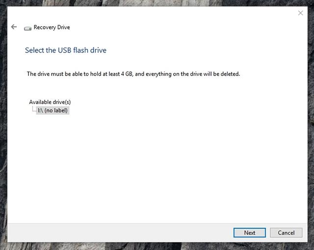 Windows 10 wählt das Wiederherstellungslaufwerk aus