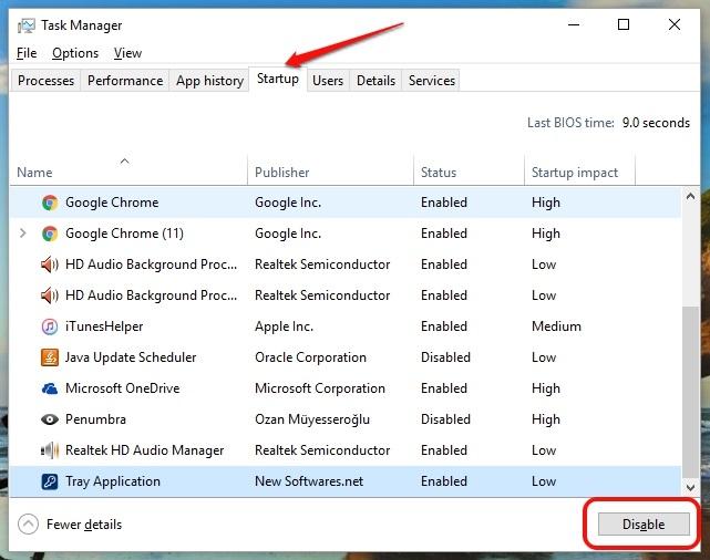 Windows 10 startup apps