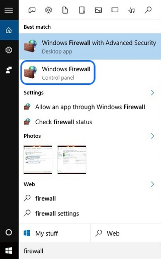 Windows Firewall Search