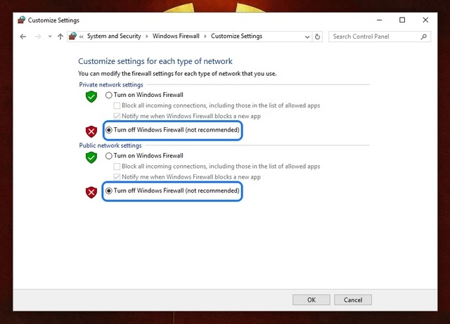 Windows Firewall turn off