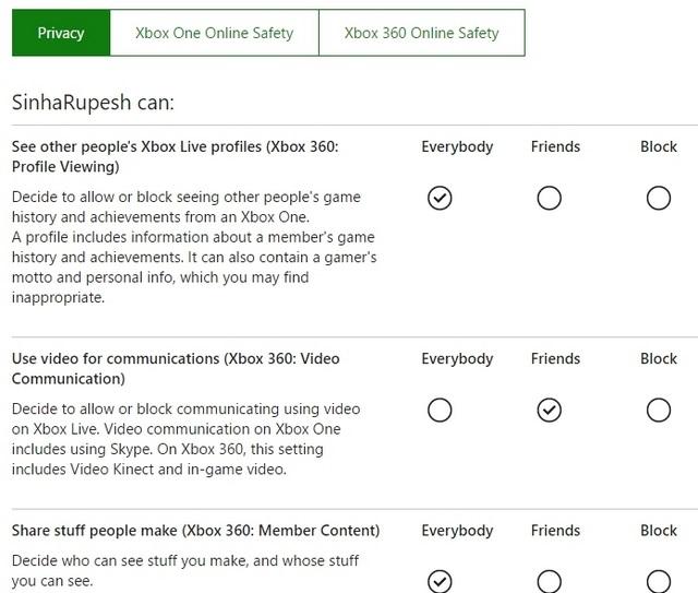 Xbox-Datenschutzeinstellungen