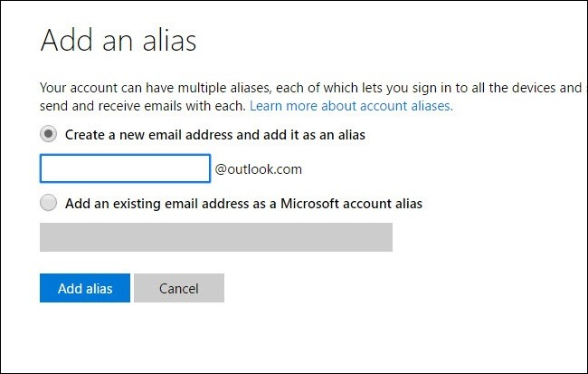 create alias in outlook