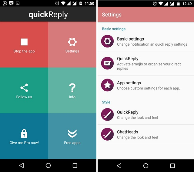 quickReply App Android
