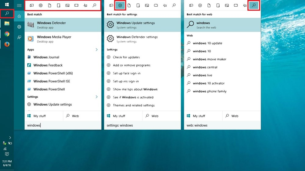 Search using Cortana