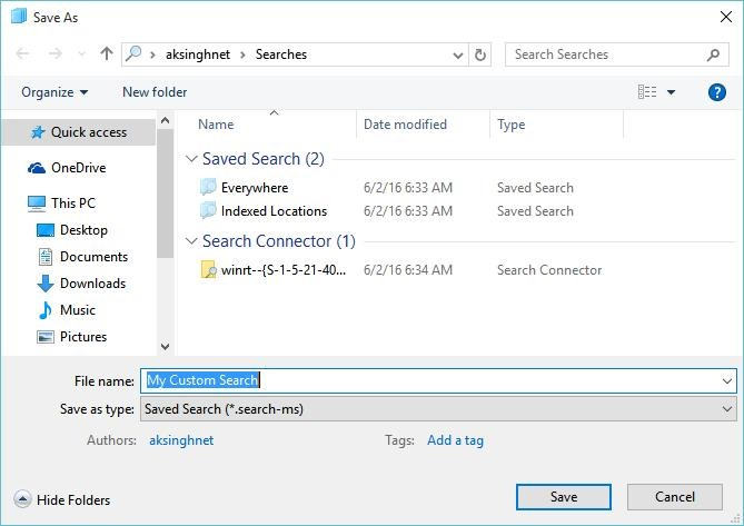 Save your Search Query