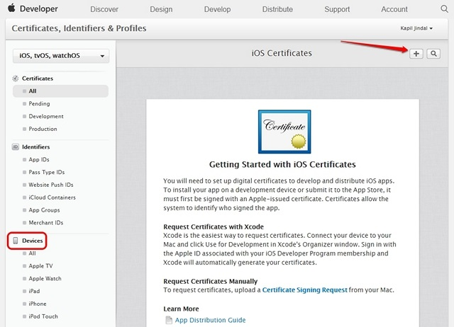 Apple Developer device certificates