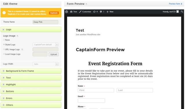CaptainForm custom themes