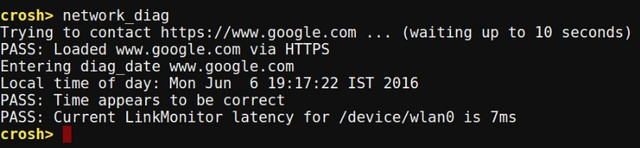 Chrome OS Crosh network diag command