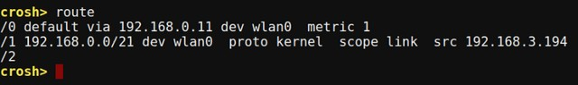 Chrome OS Crosh route command