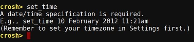 Chrome OS Crosh set time command