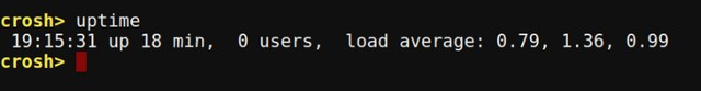 Chrome OS Crosh uptime command