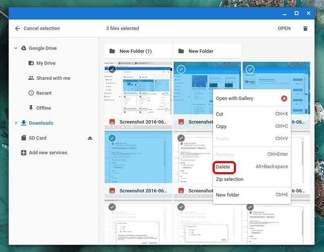 Chrome OS Downloads delete