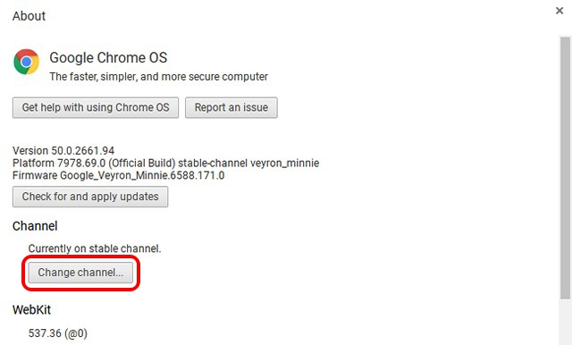 Chrome OS change channel