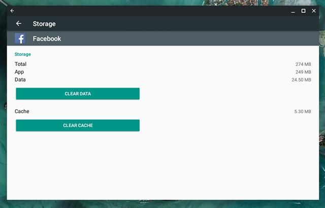 Chrome OS clear app data and cache