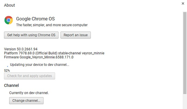 Chrome OS dev channel update
