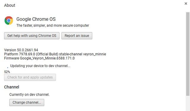 Chrome OS dev channel update