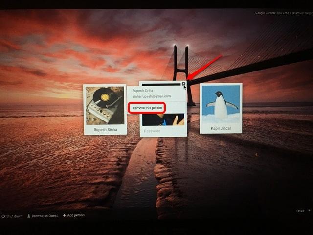 Chrome OS remove user
