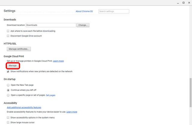 Chrome OS show advanced settings