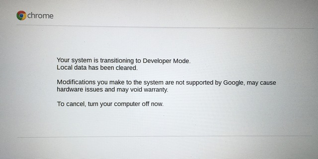 Chrome OS trnasition developer mode