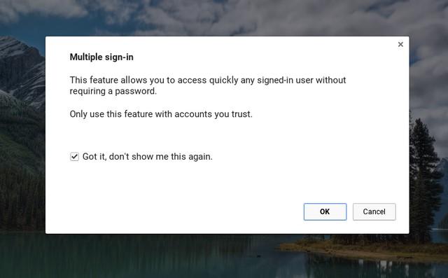 Chrome OS warning multiple users