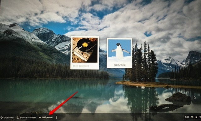Chrome OS welcome screen add user