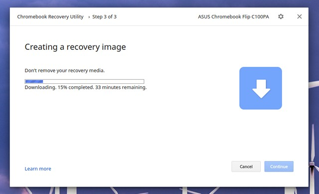Chromebook Recovery Utility downloading files