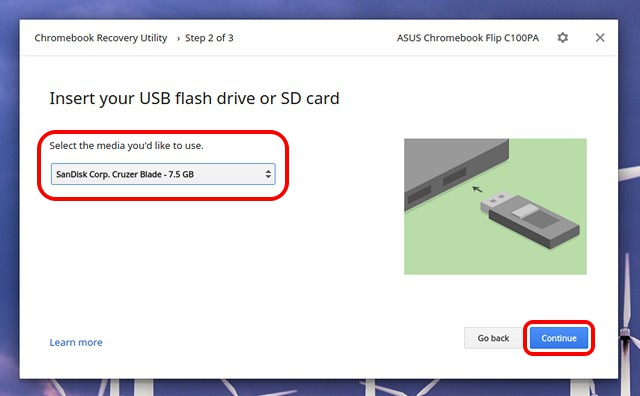 Chromebook Recovery Utility select USB
