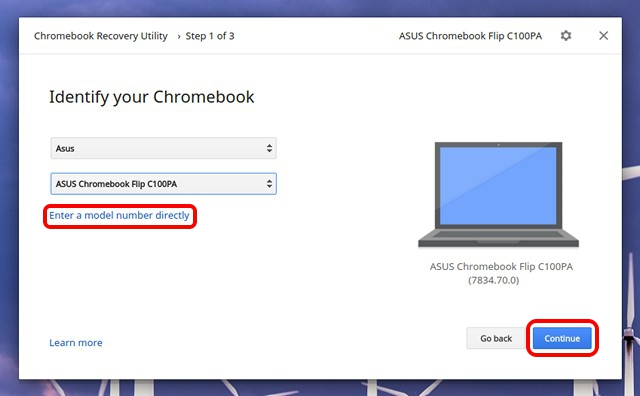 Chromebook Recovery Utility select model