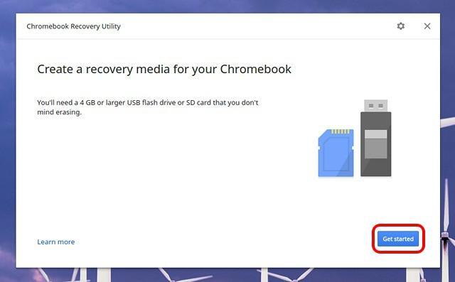 Starten Sie das Chromebook Recovery Utility